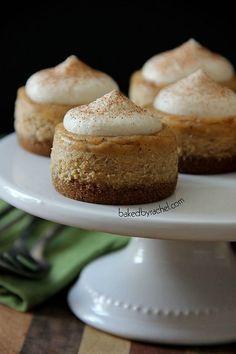 Maple Pumpkin Mini Cheesecakes with Brown Sugar Maple Whipped Cream Recipe from bakedbyrachel.com