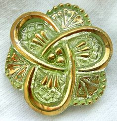 "Czech Vaseline Glass Button - Yellow Vaseline Glass ""Celtic Trinity Knot"" Button w/ Gold Detail - Triquetra"
