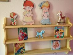 Vintage children's room decor...it's the shelving I love!