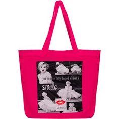 Różowa torba shopper bag z grafiką Marilyn Monroe - różowy