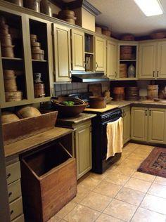 country primitive home tour Primitive Kitchen Cabinets, Painting Kitchen Cabinets, Rustic Kitchen, New Kitchen, Kitchen Decor, Kitchen Design, Kitchen Ideas, Kitchen Artwork, Kitchen Goods