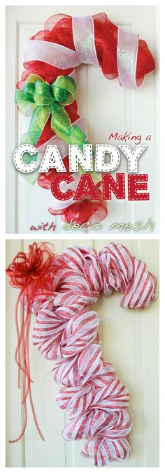 DIY Candy Cane Door Decoration with Deco Mesh