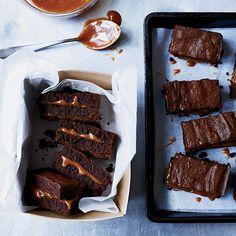 Gooey Salted Caramel-Filled Fudge Brownies