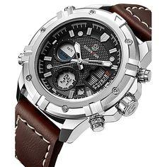 8fd05744e Hombre Reloj Deportivo Reloj Militar Reloj digital Japonés Cuarzo Piel  Cuero Auténtico Negro / Marrón 30 m Resistente al Agua Calendario  Cronógrafo ...