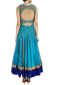 Peacock Color Jaal embroidery Anarkali At http://www.ladyselection.com