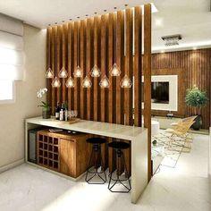 Interior Decorating Plans for your Home Bar Living Room Partition Design, Living Room Divider, Room Partition Designs, Living Room Decor, Living Room Designs, Wood Partition, Partition Ideas, Room Partition Wall, Room Divider Walls