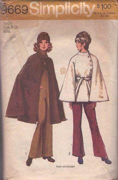 MOMSPatterns Vintage Sewing Patterns - Simplicity 9669 Vintage 70's Sewing Pattern INSANELY COOL Mod Collared Raglan Cape, Pockets, Tie thru Slits, Long & Flared or Short Size S
