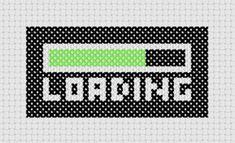 Loading Cross Stitch PDF Pattern - Immediate Download from Etsy - Geek Black / Green Computer Tech Loading Bar