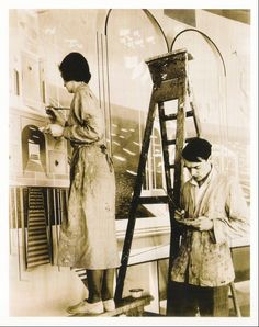 """Eric Ravilious and wife, Tirzah Garwood, painting the """"Night and Day"""" mural at The Midland Hotel, Morecambe in 1933 Midland Hotel, Most Popular Artists, Morecambe, Workshop, Day For Night, Artist At Work, Les Oeuvres, Illustrators, Photos"""