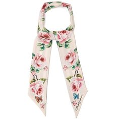 Dolce & Gabbana Skinny rose-print silk-twill scarf ($215) ❤ liked on Polyvore featuring accessories, scarves, pink, pink scarves, striped scarves, striped shawl, butterfly scarves and silk twill scarves