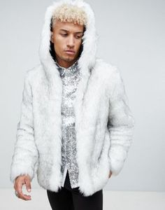 ASOS DESIGN faux fur hooded bomber in white Winter Wonderland Outfit a5db96bbc