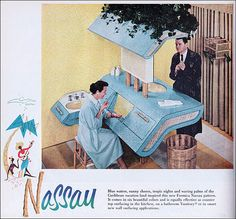 A 1957 vintage Nassau bathroom, with the mid century cabinetry, in turquoise Formica. Vintage Advertisements, Vintage Ads, Vintage Images, Nassau, Mid Century Style, Mid Century Design, Better Homes And Gardens, Mid Century Bathroom, Vintage Bathrooms