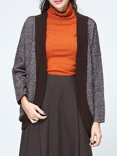 Wool Blend Casual Knitted H-line Cropped Jacket - AdoreWe.com
