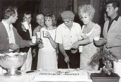 ikindalikejacklemmon: Jack visited the set of Kiss Me Stupid (1964) for director Billy Wilder's 58th birthday celebrations. Also there was Jack's BFF Tony Curtis, as well as the stars of the picture itself - Ray Walston, Felicia Farr, Kim Novak and Dean Martin.