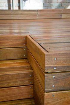 Design Ideas For Your Deck Deck Steps, Porch Steps, Outdoor Steps, Cool Deck, Diy Deck, Spotted Gum Decking, Decks Around Pools, Platform Deck, Backyard Renovations
