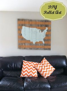 DIY Pallet sign Ideas - Map of the USA Wood Pallet Art -  Upcycled Pallet Art Cool Homemade Wall Art Ideas and Pallet Signs for Bedroom, Living Room, Patio and Porch. Creative Rustic Decor Ideas on A Budget http://diyjoy.com/diy-pallet-signs-ideas
