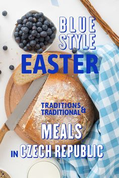 Stock Photo - Easter breakfast or brunch table in blue style, embellished with Easter symbols, traditional Czech Easter pastry Mazanec, Pomlazka and eggs. Easter Symbols, Brunch Table, Easter Traditions, High Resolution Images, Blue Fashion, Commercial Photography, Food Photography, Bakery, Homemade