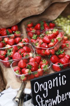 Organic strawberries. Always choose organic berries - they can be full of pesticides and toxins otherwise. Can't wait for berry season!