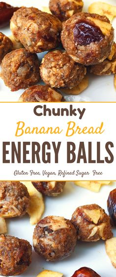 Need a #healthy snack? These #glutenfree banana bread #nobake energy balls are #allergyfriendly,# vegan refined #sugarfree...and SUPER yummy! Gluten Free Snacks, Healthy Snacks, Healthy Recipes, Easy Recipes, Healthy Bars, Delicious Recipes, Vegan Energy Balls, Energy Bites, Snack Recipes