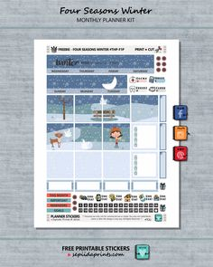 Free Printable Four Seasons {Winter} Planner Stickers from Sepiida Prints