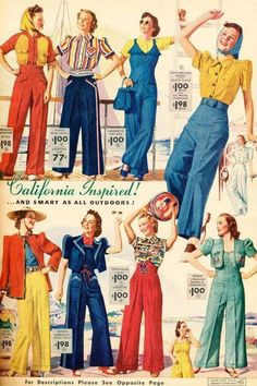 Chicago Mail Order Catalog, 1939 - smart pant outfits for… 1930s Fashion, Retro Fashion, Vintage Fashion, Women's Fashion, Moda Retro, Moda Vintage, 1940s Outfits, Vintage Outfits, Style Palazzo