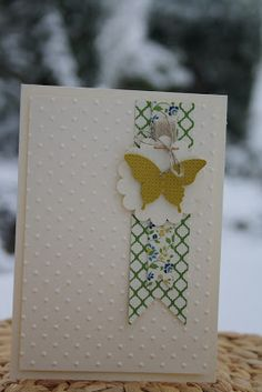 Papillon Potpourri stamp set with Elegant Butterfly punch. great CAS design. card by Daniela Gundlach