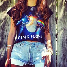 Pink floyd crop top and high waisted shorts
