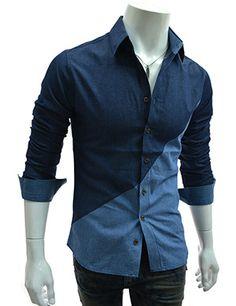 (AL728-NAVY) Slim Fit 2 Tone Incision Denim Long Sleeve Shirts