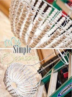 My Simple Obsession: Beaded Chandelier Tutorial - All For Decoration Wood Bead Chandelier, Gothic Chandelier, How To Make A Chandelier, Wire Basket Chandelier, Chandelier Lighting, Fabric Chandelier, Iron Chandeliers, Pendant Lamps, Pendant Lights