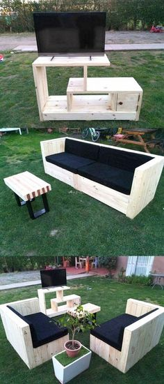 Awesome Wooden Pallet TV Counsle Ideas
