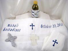 GREEK BAPTISM BAPTISMAL TOWEL SET NAVY