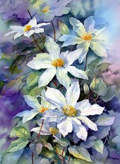 """May Morning Clematis"" watercolor by Ann Mortimer. Art Floral, Silk Painting, Painting & Drawing, Watercolor Flowers, Watercolor Art, Watercolour Paintings, Botanical Art, Beautiful Paintings, Flower Art"
