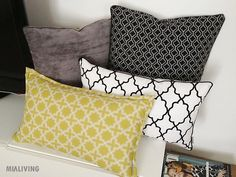 Mialiving geometric morocan olive and black white pillows #MIALIVING #pillows