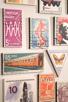 Enlarged Postage Stamps on Canvas