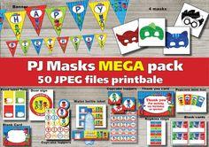 Instand DL PJ Masks Birthday Mega package Printable by Birthday Themes For Boys, Superhero Birthday Party, Birthday Bash, Birthday Party Themes, Birthday Ideas, Mega Pack, Pj Mask, Mask Party, Parties