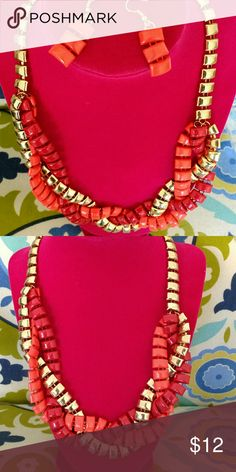 Necklace Set Gold tone necklace with orange and red interlocking strands.  Set includes drop earrings.  Also available in purple. Jewelry Necklaces
