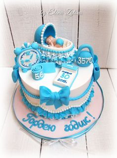 Baby Birthday Cakes, Baby Girl Cakes, Baby Door Decorations, Fondant, Smooth Cake, Torte Cake, Magdalena, Cakes For Boys, Baby Shower Cakes