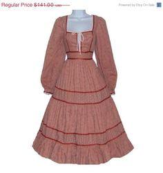 Gunne Sax Pumpkin Calico Corset Dress. 51M54