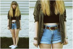 American Apparel Crop Top, Shop The Far Out Jacket, Levi's® Cut Off Shorts, Keds Shoes