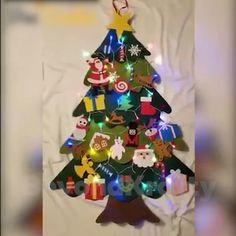 Led Christmas Tree, Colorful Christmas Tree, Kids Christmas, Christmas Tree Decorations, Christmas Ornaments, Christmas Is Coming, Christmas Gift From Baby, Christmas Felt Crafts, Little Christmas Trees