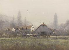 "Joseph Zbukvic ""Farmyard"", Dordogne, France watercolour 21 x 28 inches"