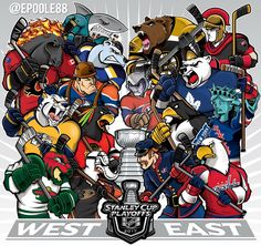 Artist released his 2017 Stanley Cup Playoffs artwork, featuring the mascots of all 16 competing teams in battle mode. Hockey Memes, Hockey Logos, Nhl Logos, Sports Logos, Funny Hockey, Sports Art, Montreal Canadiens, Creative Logo, Nhl Wallpaper