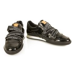 8e424f498b6b Louis Vuitton Black Patent Leather Sneakers Trainers with Velcro straps 41  Shoes