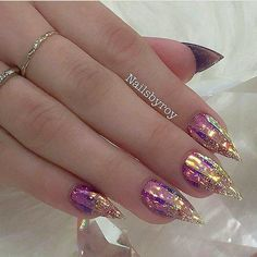 Gorgeous Colorful Glitters Summer Party Manicure For Stilleto Nails