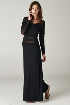 Sasha Dress - Black Maxi Dress with Sheer Stripes