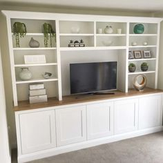 Built In Tv Wall Unit, Built In Shelves Living Room, Living Room Wall Units, Living Room Tv Unit Designs, Living Room Storage, Built In Bookcase, Built In Tv Cabinet, Tv Cupboard, Wall Tv
