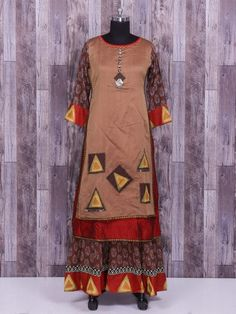 Shop Beige cotton silk double layered kurti online from G3fashion India. Brand - G3, Product code - G3-WSS23849, Price - 5170, Color - Beige, Fabric - Cotton Silk,