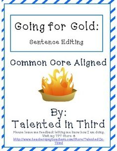 Students will enjoy this fun take on sentence editing (spelling, punctuation, capitalization, etc.), with six sets of 3 mixed-up sentences focused on athletic events. Great for use in morning work, small group activities, homework, and single student intervention. $
