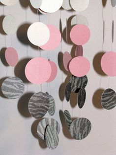 Pink and Silver Zebra Nursery Mobile by LegacyBabyBoutique on Etsy, $49.00