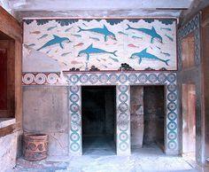 Dolphin Mural Knossos - Arte minoico-micenea - Wikipedia